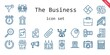 the business icon set. line icon style. the business related icons such as megaphone, smartphone, briefcase, bulb, church, cabin, calculating, camcorder, clock, drone