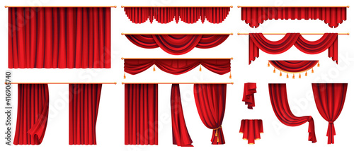 Obraz Set of red curtains isolated decorative stage cloth. Vector luxury cornice decor, domestic fabric interior drapery textile labrecque, scarlet silk velvet curtain. Theatre, cinema scenes decorations  - fototapety do salonu