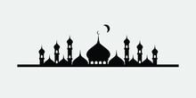 Vector Illustration Of A Muslim Mosque Silhouette. Ramadan Ramadhan Kareem. Eid Mubarak