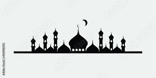 Foto Vector illustration of a Muslim Mosque Silhouette