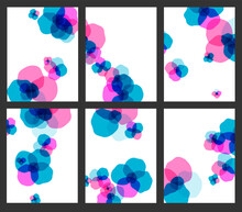 Set Of Patterns With Abstract Colored Flowers, Suitable For Branding, Flyers, Booklets And Prints