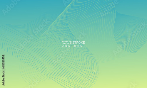 Canvastavla Wave line of flowing particles abstract vector background, smooth curvy shape dots fluid array
