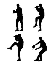 Silhouettes Of A Baseball Pitcher Pitching, Pitcher Shapes Printables Editable Isolated