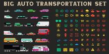 Big Auto Transportation Icons Set