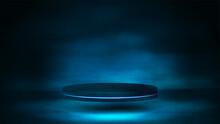 Empty Dark Podium For Product Presentation, 3d Realistic Vector Illustration. Blue And Dark Digital Scene