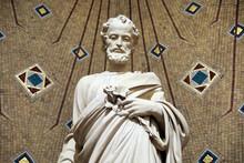 Saint-Pierre De Neuilly Catholic Church. Neuilly, France. Saint Joseph Statue (detail). 22.03.2018