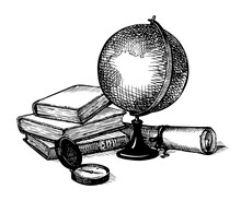 Vector Still Life: A Globe, Books, Map And Compass