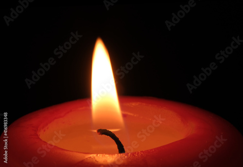 Fotografie, Obraz Red paraffin thick candle