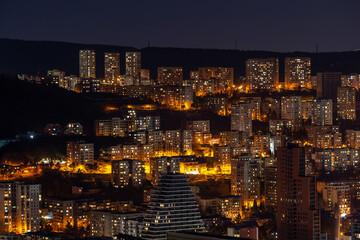 Architecture On Background Of Urban Night Cityscape, Tbilisi