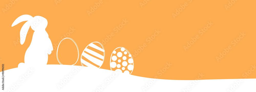 Fototapeta Easter banner with rabbits and easter eggs. Vector illustration.