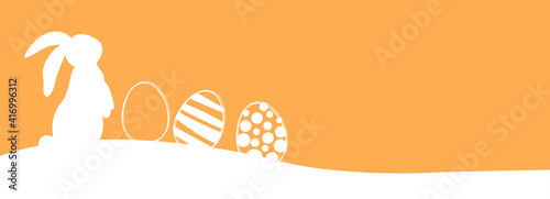 Obraz Easter banner with rabbits and easter eggs. Vector illustration. - fototapety do salonu