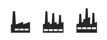 Factory Icon Set. Industry, Production And Manufacturing Symbols. Isolated Vector Images