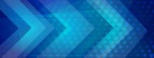 Abstract Halftone Background Made Of Dots And Geometric Shapes In Blue Colors