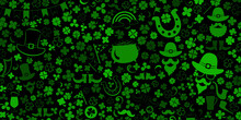 Background On St. Patrick's Day Made Of Clover Leaves And Other Symbols In Green Colors