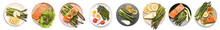 Collage Of Dishes With Healthy Asparagus On White Background