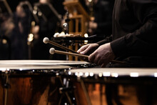 Hands Of A Musician Playing The Timpani