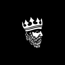 Bearded King With A Crown On His Head