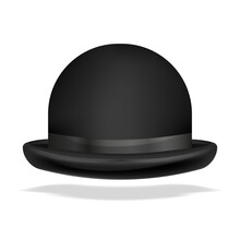 Vector Bowler Hat Realistic Isolated. 3D Vector Illustration Isolated On White.