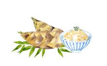 筍とたけのこご飯の水彩画