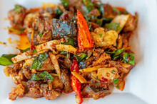 Spicy Fried Soft-shelled Turtle With With Thai Herbs