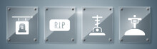 Set Grave With Cross, Grave With Cross, Speech Bubble Rip Death And Signboard Tombstone. Square Glass Panels. Vector.