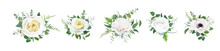 Vector Floral Bouquet Set, Editable Design Elements. Light Yellow Garden Cabbage And Peony Roses, White Anemone Flowers, Tender Greenery Eucalyptus, Branches, Fern Leaves, Ranunculus Buds Illustration