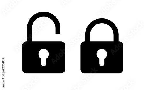 Fototapeta Lock unlock icon set black color isolated on white background