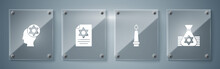 Set Jewish Money Bag, Burning Candle, Torah Scroll And Orthodox Jewish Hat. Square Glass Panels. Vector.