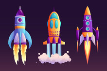 Space Ship Launch, Rocket With Fire Trace And Smoke Isolated Cartoon Set. Vector Start Of Business Or New Project Symbol, Boosters In Flight. Takeoff Of Rocketship, Spacecraft And Clouds Flaming
