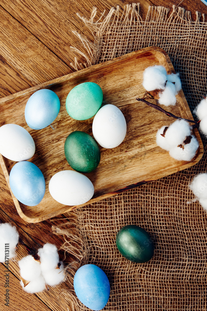 Fototapeta Easter eggs holiday tradition decoration top view