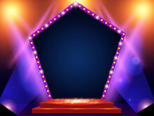 Background With Podium And Blue And Yellow Spotlights And Arch Banner. Design For Presentation, Concert, Show