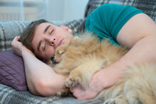 Handsome Guy, Young Man Is Lying With Eyes Closed, Sleeping, Taking A Nap On Couch During The Day, Snoozing At Sofa Together With His Beautiful Little Dog, Cute Puppy On A Shoulder. Daytime Sleep.