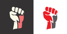 Fist Clenched. Power, Strength Icon Logo Vector