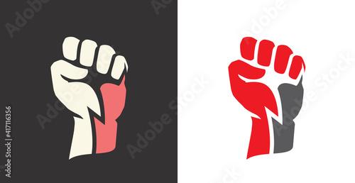 Carta da parati Fist clenched. Power, strength icon logo vector