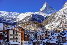 City Of Zermatt In Swiss Alps In Winter. In The Backgroung The Famous Peak Metterhorn.