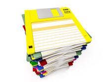 Pile Of Floppy Disks On White