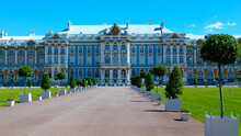 Facade Of Catherine Palace Located In Suburb Of St. Petersburg, In City Of Pushkin (Tsarskoe Selo), Russia. Petersburg Travelling. Russian Royal Tourist Attractions. Architect Rastrelli. Summer Day.
