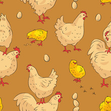 Seamless Pattern With Cute Cartoon Hens And Roosters. Vector Illustration