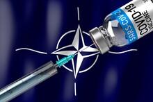 Covid-19, SARS-CoV-2, Coronavirus Vaccination Programme In NATO, Vial And Syringe - 3D Illustration