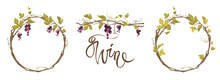 Grapevine - Vector Illustration. Design Elements With A Twisting Vine With Leaves And Black Berries. Freehand Drawing In Watercolor Style. Frame With Vine.