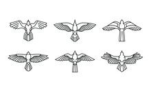 Set Of Hawk Icon Logo. Ancient Egypt Illustration Of Falcon Bird Collection. Symbol Of The Power And Eternal Life. Modern And Minimalist Style In Monoline Vector Drawing.