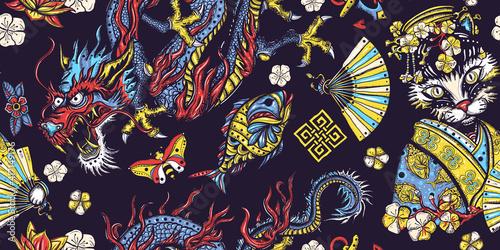 Tablou Canvas Japanese seamless pattern