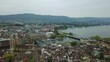 cloudy evening zurich cityscape lakeside aerial panorama 4k switzerland