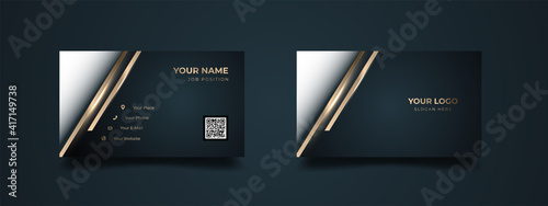 Luxury design business card dark blue gradient with barcode space template vector. Dark background with modern golden lines. Template ready to print.