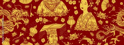 Fotografie, Tablou China traditional seamless pattern