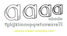 Impossible Font Has Shadow Texture. The Contains 28 Characters With Editable Strokes, Meaning The Strokes Are Not Expanded And The Weights Can Be Edited.