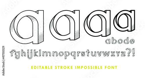 Fototapeta premium Impossible font has shadow texture. The contains 28 characters with editable strokes, meaning the strokes are not expanded and the weights can be edited.
