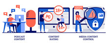 Podcast Content Rating, Media Content Control Concept With Tiny People. Engaging Marketing Abstract Vector Illustration Set. Promotion Strategy, Monetization, Games And Apps, User Guidelines Metaphor