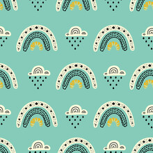 Seamless Pattern With Magic Rainbows And Clouds.  Can Be Used In Textile Industry, Paper, Background, Scrapbooking.