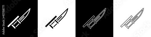 Foto Set Bayonet on rifle icon isolated on black and white background